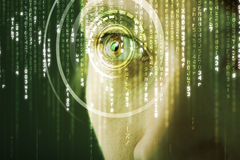 Modern cyber woman with matrix eye Stock Image