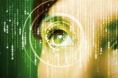 Modern cyber woman with matrix eye Royalty Free Stock Photography