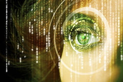 Modern cyber woman with matrix eye Royalty Free Stock Images