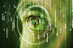 Modern cyber woman with matrix eye Stock Images