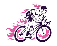 Modern Cycling Action Silhouette Logo. Passionate On Fire Cyclist In Action Stock Image