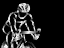 Modern Cycling Athlete In Action Line Art Drawing. royalty free stock photography