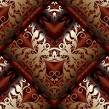 Modern 3d Baroque seamless pattern. Floral dark red background w. Allpaper with vintage beautiful gold damask flowers, scroll golden leaves, rhombus and old vector illustration