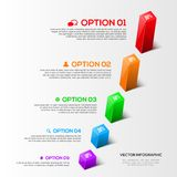 Modern 3D charts infographic. And graphs options design template Royalty Free Stock Photography