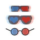 Modern 3d cinema glasses set Royalty Free Stock Images