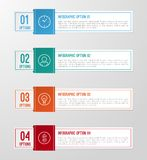 Modern 3D folded paper infographics options banner. Stock Photography