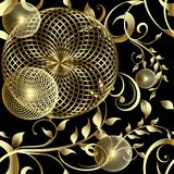 Modern 3d geometric seamless pattern. Vector floral background w. Ith gold radial fractal shapes, circles, lines, vintage flowers, branches, leaves, lines stock illustration
