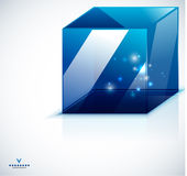 Modern 3d  glass cube design template. Abstract background Royalty Free Stock Photos