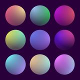 Modern 3d gradient set. With round abstract backgrounds. Colorful fluid covers for calendar, brochure, invitation, cards. Trendy soft color. Template with round Stock Image