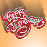 Modern 3d happy new year hand lettering Stock Image
