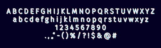 Modern 3D holographic sans serif alphabet and font royalty free stock image