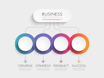 Modern 3D infographic template with 4 steps. Business circle template with options for brochure, diagram, workflow, timeline, web. Design. Vector EPS 10 Stock Photos