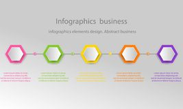 Modern 3D infographic template with 5 steps. Business template w. Ith options for brochure, diagram, workflow, timeline, web design royalty free illustration