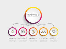 Modern 3D infographic template with 5 steps for success. Business circle template with options for brochure, diagram, workflow, timeline, web design. Vector Royalty Free Stock Photography