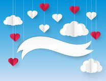 Modern 3d origami paper art background. With red and white heart balloons and fluffy clouds. Valentine`s day, wedding invitation, banner Royalty Free Stock Image