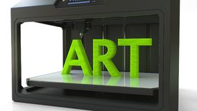 Modern 3D printer in action. Printing green ART caption, 3D rendering. Modern 3D printer in action. Printing green ART caption Royalty Free Stock Image