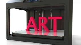 Modern 3D printer in action. Printing red ART volumetric word. 3D rendering. Modern 3D printer in action. Printing red ART caption Stock Photography