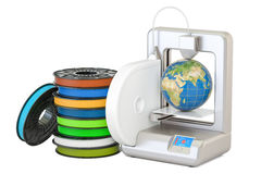 Modern 3D printer with Earth globe, 3D rendering Stock Photography