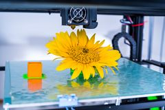Modern 3D printing. 3d printer mechanism working yelement design of the device during the processes. stock photos