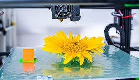 Modern 3D printing. 3d printer mechanism working yelement design of the device during the processes. stock image