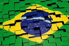Brazil flag background formed from digital mosaic tiles, 3D rendering. Modern 3D rendered concept of numerous square tiles sliding together to form the national Stock Photos
