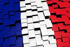 France flag background formed from digital mosaic tiles, 3D rendering. Modern 3D rendered concept of numerous square tiles sliding together to form the national Stock Images