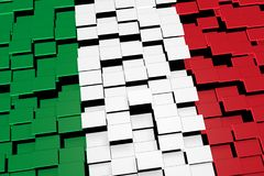 Italy flag background formed from digital mosaic tiles, 3D rendering. Modern 3D rendered concept of numerous square tiles sliding together to form the national Royalty Free Stock Image