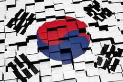 South Korea flag background formed from digital mosaic tiles, 3D rendering. Modern 3D rendered concept of numerous square tiles sliding together to form the Royalty Free Stock Photos
