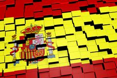Spain flag background formed from digital mosaic tiles, 3D rendering Stock Photography