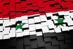 Syria flag background formed from digital mosaic tiles, 3D rendering. Modern 3D rendered concept of numerous square tiles sliding together to form the national Stock Photos