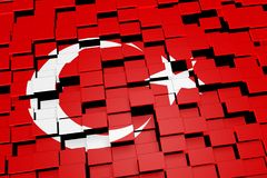 Turkey flag background formed from digital mosaic tiles, 3D rendering. Modern 3D rendered concept of numerous square tiles sliding together to form the national Stock Image