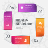 Modern 3D ribbons in the form of a square for business infographics. Vector template with 5 steps, parts, options. Stages Royalty Free Stock Photo