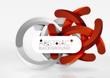 Modern 3d ring vector abstract background. Modern 3d ring composition in grey and white space, vector abstract background Stock Image