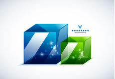 Modern 3d vector glass cube design template Royalty Free Stock Images