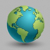 Modern 3d world map concept on transparent background. World planet, vector earth sphere illustration stock illustration