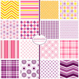 Seamless Repeating Patterns - Modern Daisies. 16 modern prints and coordinating patterns in purple, orange, yellow and pink Royalty Free Stock Photography