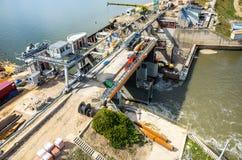 Modern dam reconstruction Stock Photo