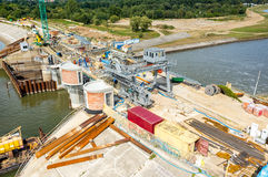 Modern dam reconstruction Stock Photos