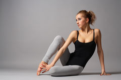 Modern dance. Young and beautiful modern style dance posing stock image