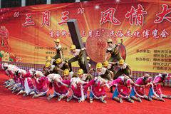 Modern dance for Chinese constructers Royalty Free Stock Photo