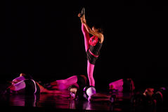 Modern dance move. Philadelphia dance company L&L performs on stage on June 28, 2009, at the Anneburg Theater royalty free stock image
