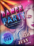 Modern dance party poster design. With attractive woman Stock Images