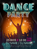 Modern dance party poster design. With silhouette style background Royalty Free Stock Photos