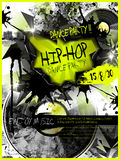 Modern dance party poster design template. With vinyl records elements Royalty Free Stock Image