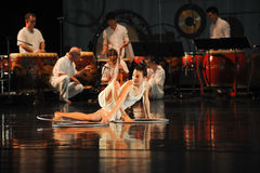 Modern dance and percussion band. In May 22nd, the French original dance musical red line at the Jiangxi Art Center held. Chinese youth dance actor Liu Yan as Stock Image
