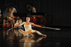 Modern dance and percussion band. In May 22nd, the French original dance musical red line at the Jiangxi Art Center held. Chinese youth dance actor Liu Yan as Stock Images