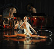 Modern dance and percussion band. In May 22nd, the French original dance musical red line at the Jiangxi Art Center held. Chinese youth dance actor Liu Yan as Stock Photography