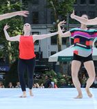 Modern Dance Performance, Women, Outdoors. Dancers, performing a modern or contemporary dance outdoors during the 2018 Summer in Bryant Park, New York City royalty free stock photos