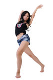 Modern dancer. Of Asian with attractive pose, full length portrait isolated on white background royalty free stock photo