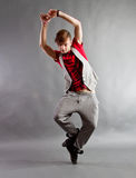 Modern dancer. Performing on studio background stock photos